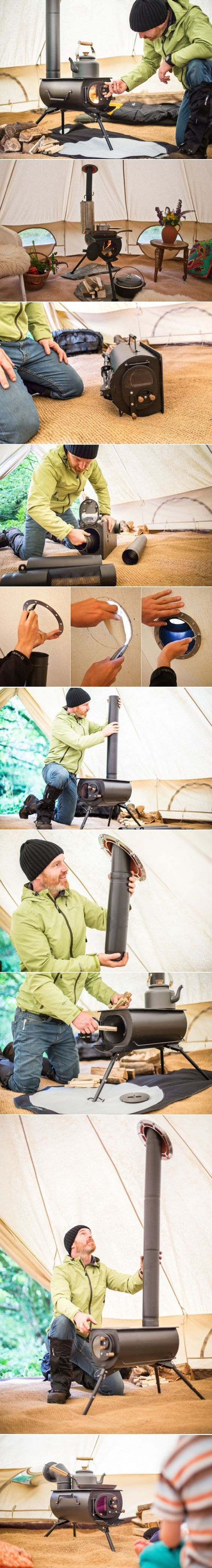 Portable Woodburning Stove Can Be Installed in Tents, Teepees, or Small Cabins