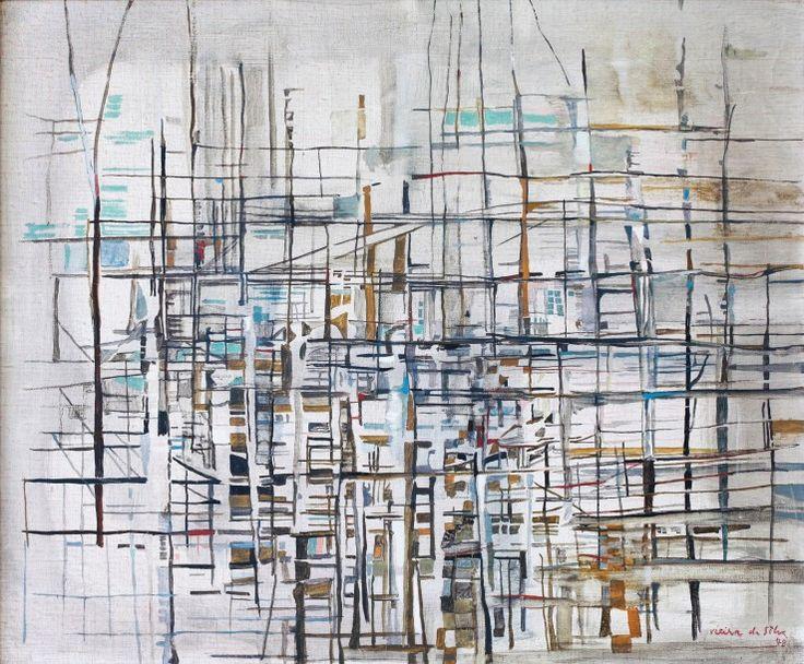 Maria Elena Vieira Da Silva (1908-1992), Sans titre, 1948, huile sur toile, signée et datée, 54,3 x 65 cm. Estimation : 70 000/75 000 €. Samedi 27 février, Pau. Gestas - Carrere Enchères de Bourbon SVV.
