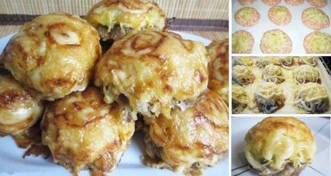 Masové bombičky se sýrem a bramborami * z mletého ochuceného masa uděláme placičky na ty dáme nastrouhané brambory, nastrouhaný sýr, potřeme  majonézou a upečeme.