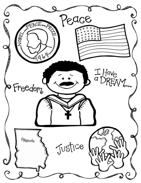 Mlk Coloring Page First Grade Teaching Pinterest First Grade