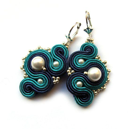 Elegant soutache earrings handmade embroidery cobalt by SaboDesign, $43.00