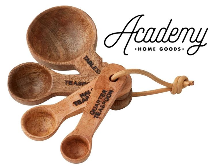 NEW ELIOT BY ACADEMY WOODEN MEASURING SPOONS Teaspoon Tablespoon SET