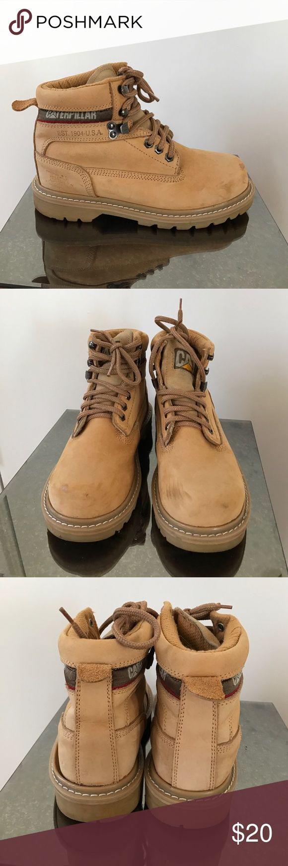 Caterpillar work boots wide width tan 7.5 These are pre loved caterpillar work boots. They are a men's wide width 5.5, which is a women's 7.5. Like walking on clouds!! These say the size and $19.99 faintly on the bottom. I bought these at a yard sale and they are just a little big for me! Caterpillar Shoes Ankle Boots & Booties