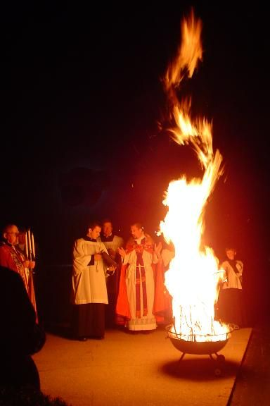 Easter Vigil! Wow! Someone pinned a picture of my fire from several years ago! What are the chances of that?