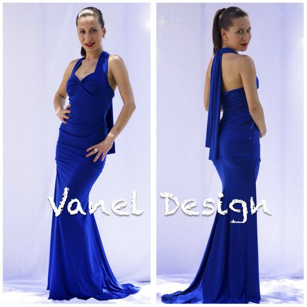 Long royal blue evening gown, elegant cocktail dress, braidsmaid... ($89) ❤ liked on Polyvore featuring dresses, gowns, royal blue long dress, electric blue dress, royal blue dress, long length dresses and long dresses