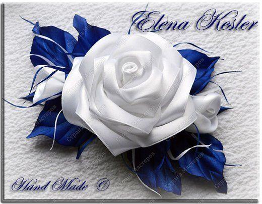 Украшение Цумами Канзаши Розы Ленты фото 1