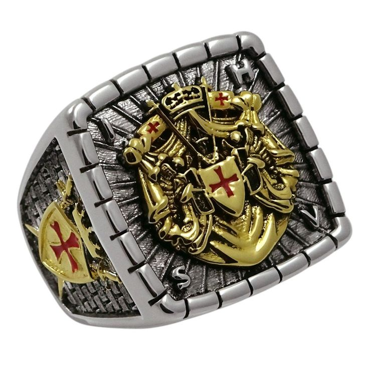 Knight Templar Masonic Ring 18k White and Yellow Gold Pld 40 Gr Unique Handcrafted Design Highly Collectible (12)