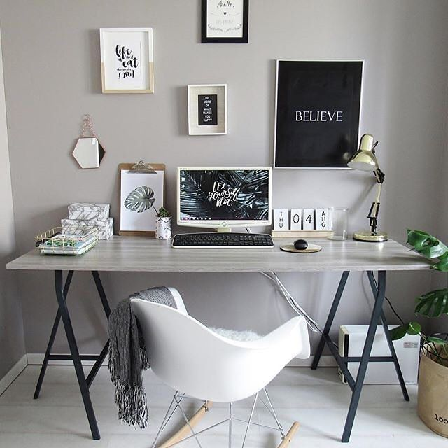grey and work workspace with gallery wall #workspacegoals