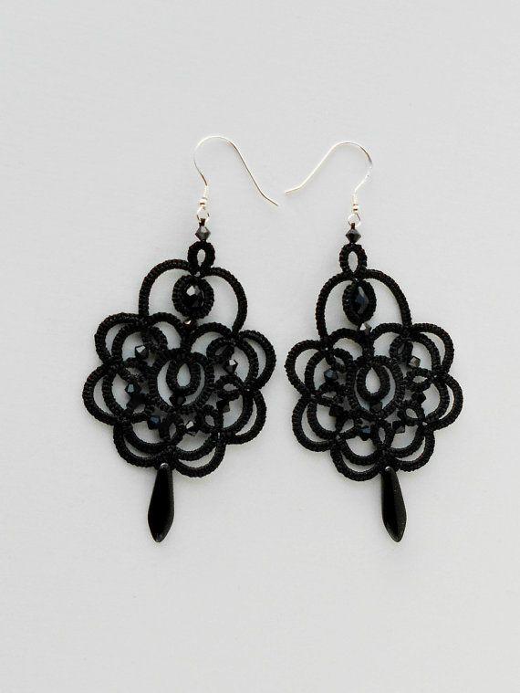 Black lace earrings, black earrings with black beads, tatted earrings, tatting jewelry, 925 silver hooks