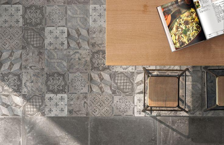 Patchwork vloertegels 20x20 gecombineerd met 60x60 tegels uit dezelfde serie (36), Tegelhuys