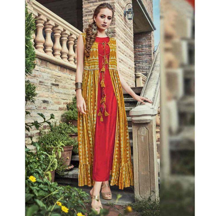 Rayon Red n Mustard Printed Designer Kurti #womensfashion #redkurti #printedkurti #indowesternkurti #designerkurti #fashion #style #kurtis