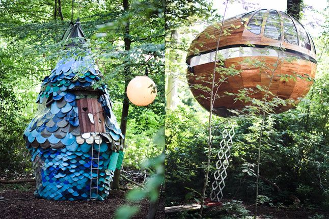 Houses in the forest: Fun Hotels Places, Favorite Places, Dream, Popup, Treehouse, Night, Airhotels Van