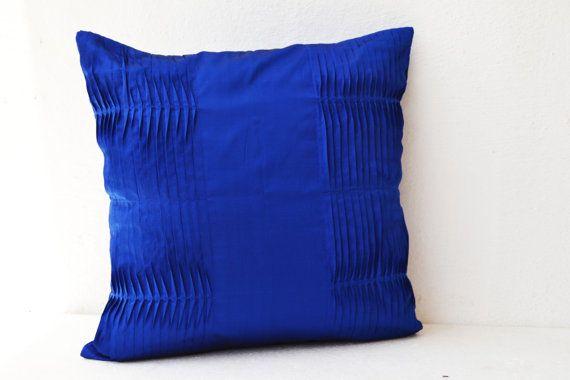 Decorative Pillow Cover Royal Blue Pillow Case Cotton Silk