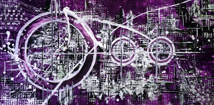 """De Flo Nr.201.Abstracta painting [Purple Rain]- D-[100x50] Pictura abstracta lucrari originale De Flo """"The painting has a life of its own. I try to let it come through""""     -Jackson Pollock-"""