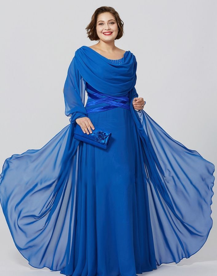 Royal Blue Chiffon Mother Of The Bride Dresses Plus Size