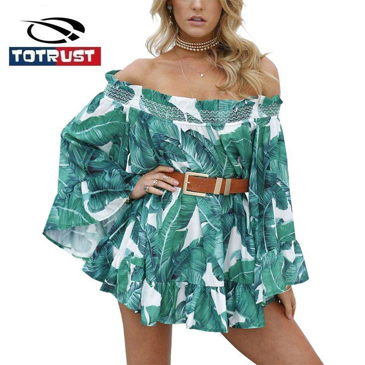 TOTRUST Vintage New Fashion Women Off Shoulder Blouses Casual 2017 Long Flare Sleeve Blouse Shirt Women Chemise Femme Woman Tops #Affiliate