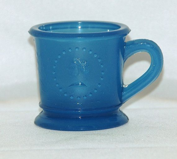 Antique CERES GODDESS of LIBERTY Child's Blue Mug Ca 1870  Early American Pattern Glass. Exc Vintage Condition - Free Shipping