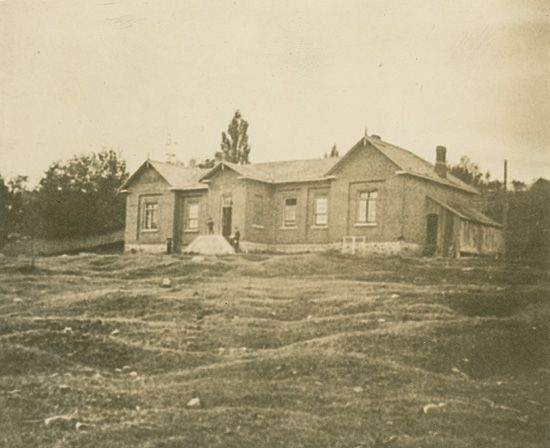 """An undated photo of the grammar school at Barrie, where William Osler was a student from 1864 to 1866. Cushing recounts that Osler was a notorious prankster while boarding at Barrie. This photo is reproduced in """"The Life of Sir William Osler"""" and is given a date of about 1870, four years after Osler left the school."""