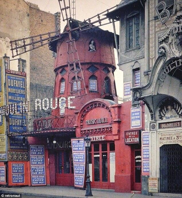A rare color photograph by Albert Kahn of the original Moulin Rouge in Paris, a year before it burned down. 1914