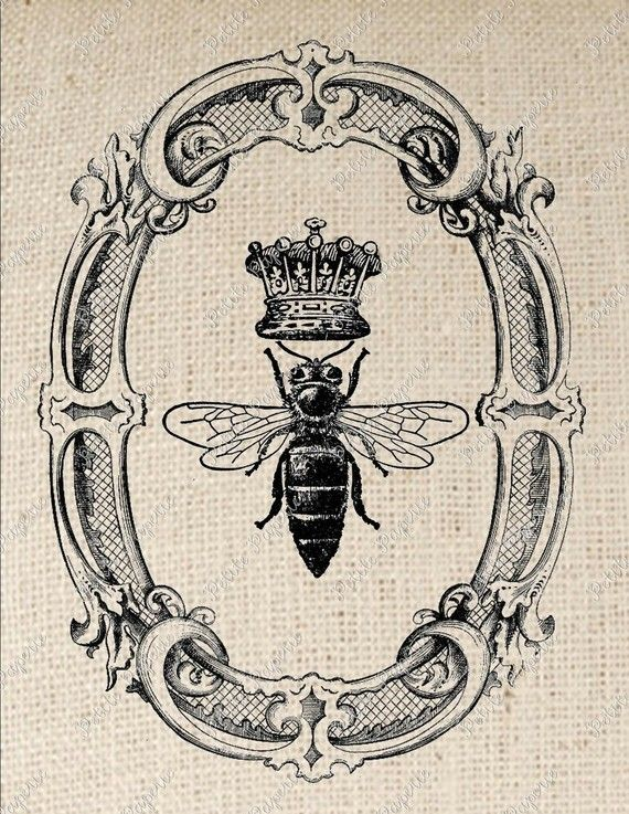 Queen Bee in Oval Frame Digital Download or Iron on Transfer. $1.50, via Etsy.