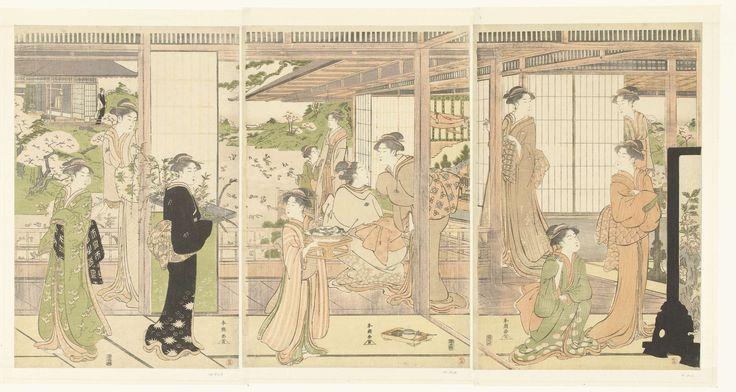 Katsukawa Shuncho | Voorbereidingen voor het poppenfeest, Katsukawa Shuncho, Izumiya Ichibei (Kansendo), 1785 - 1800 | Verschillende vrouwen, in de kamers van een groot huis, voorbereidingen treffend voor het poppenfestival; door opengeschoven deuren een gezicht op de tuin met bloesemende bomen.