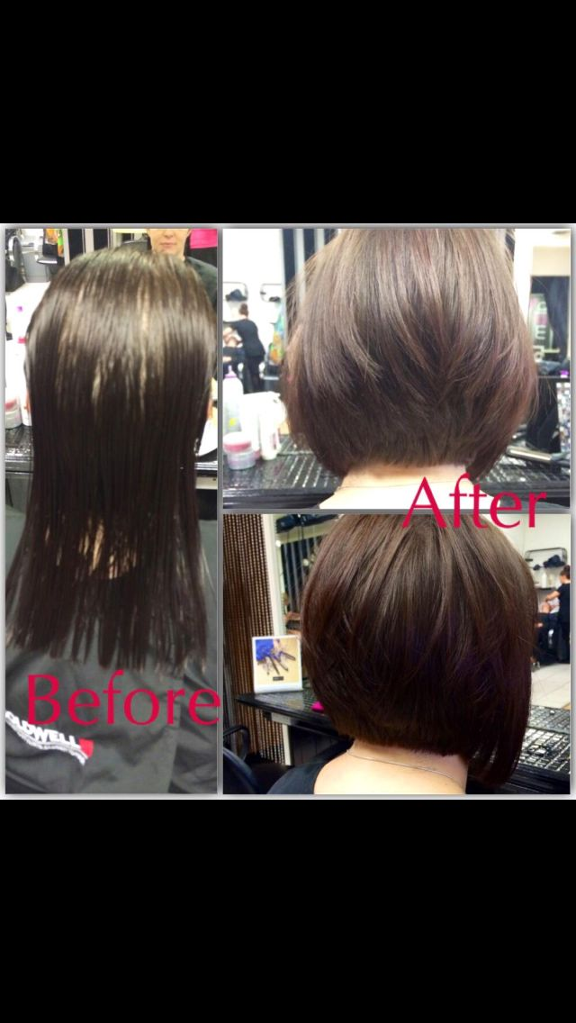 Before and after bob hair cut