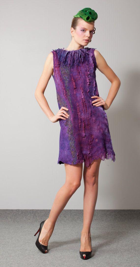 "Nuno-felt dress - tunic ""Lavandula stoechas"" r Regina Doseth      Regina Doseth     Klaipeda,     Lithuania"