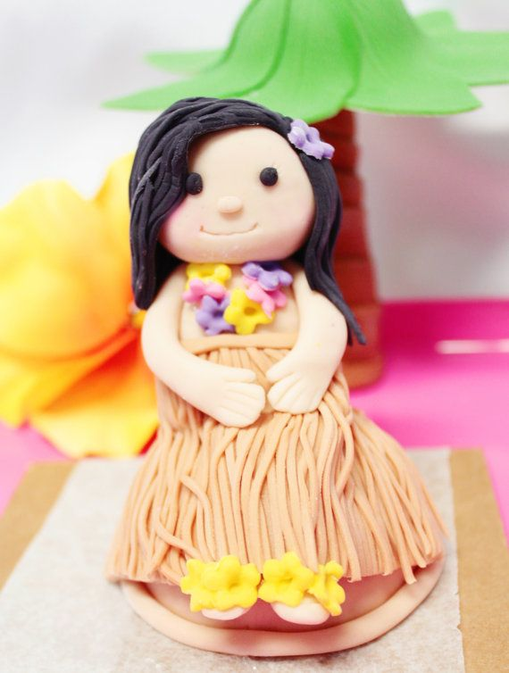 Custom Fondant Hula Girl Cake Topper by SugarAndStripesCo.etsy.com
