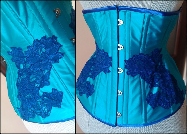 Underbust teal with royal blue lace