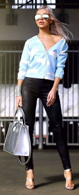 #spring #fashion | Light Blue and Black | Alina Ceusan                                                                             Source