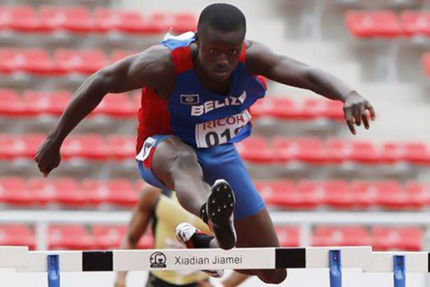This is a picture of Eddermys Sanchez. He is representing Belize in the olympics. He is doing the hurdles, an olympic sport where you have to run a certain distance but you also have to jump over obstacles.