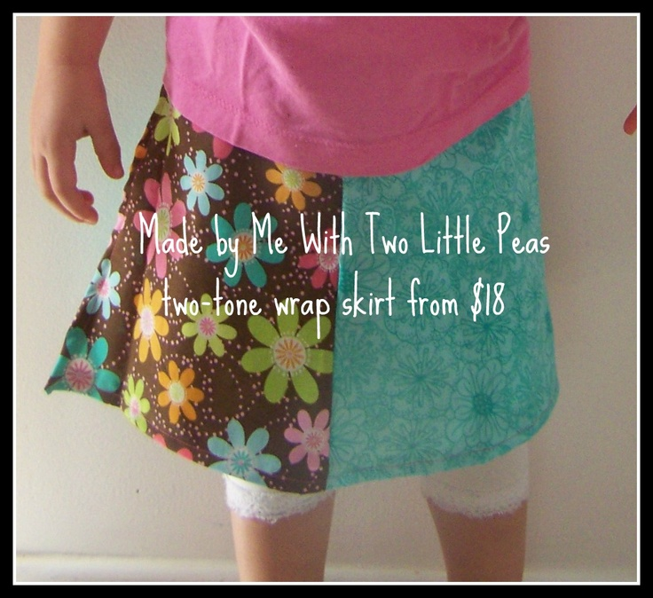 two-tone wrap skirt with co-ordinating fabric, can be done in just 1 fabric, in multiple different panels or with a contrasting binding, from 18 AU$