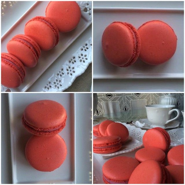Red White Chocolate Raspberry Macarons <3 See More Cute Macaron Ideas at CarlasCakesOnline.com