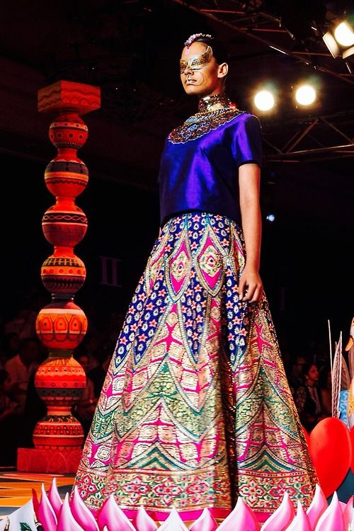 anarkali. indian fashion. manish arora. royal blue.