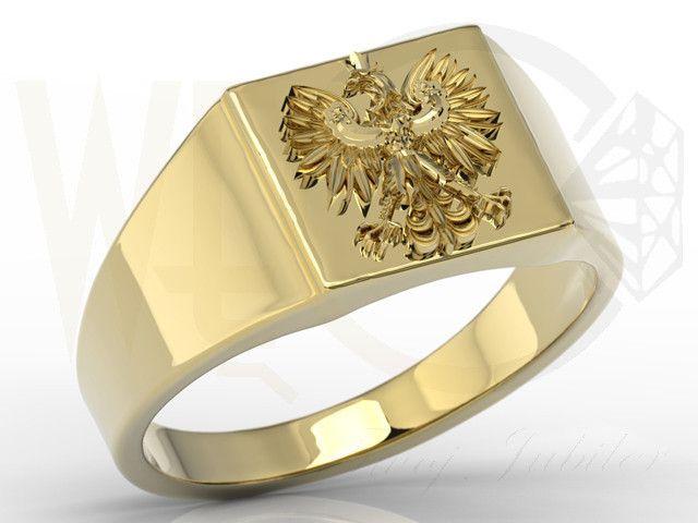 Sygnet z żółtego złota z orłem / Signet ring made from yellow gold / 1957 PLN #signet_ring #gold #jewelry #jewellery #man #sygnet #bizuteria #zloto