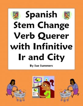 Spanish Grammar - Spanish Stem Change Verb Querer with Ir and City Vocabulary Worksheet - by Sue Summers