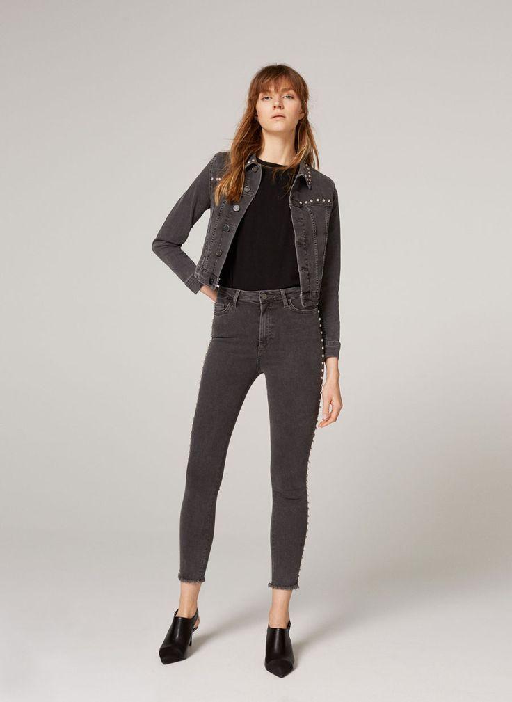 Studded grey denim jacket - Jackets - Ready to wear - Uterqüe Sweden