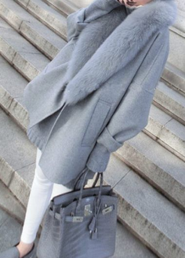 Faux Fur Collar Grey Long Sleeve Pocket Coat
