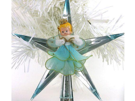 1950s Vintage Christmas Tree Topper, Blue Angel, Plastic