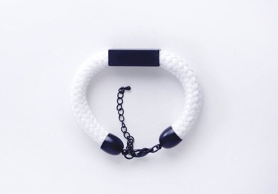 Black and white  Cord bracelet with bead by ChezKristel on Etsy