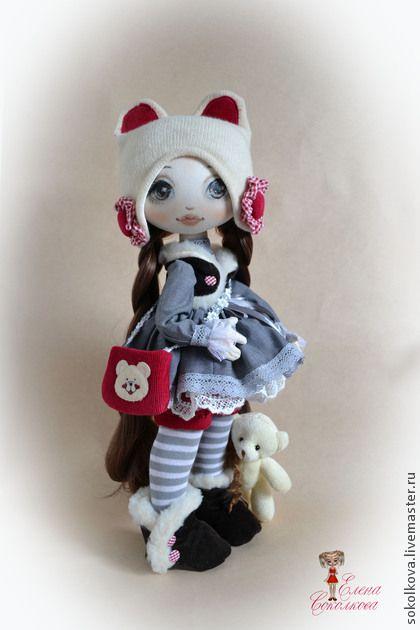 Яна - серый,кукла,интерьерная кукла,игрушка кукла,мишка,куколка,в подарок