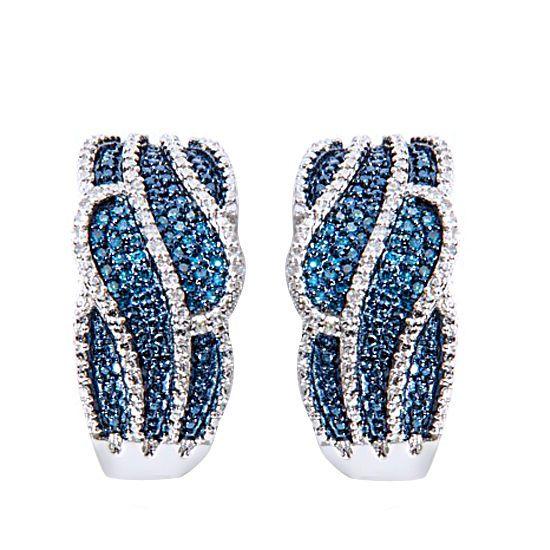 "0.17ct Blue & White Diamond 10k Solid White Gold ""Ribbon"" Hoop Earrings #gemdepot #Hoop #BlackFridaysDeals"