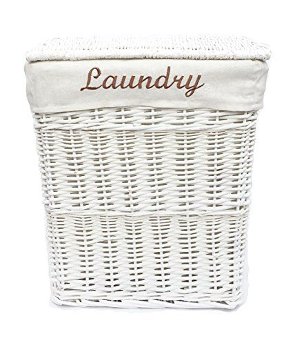 The Awesome Web WHITE WICKER LAUNDRY BASKET BIN BATHROOM STORAGE M LxW https