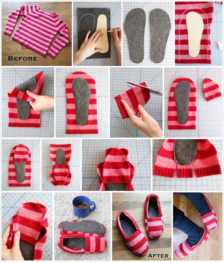 "These cozy slippers made from an old sweater ,it's a fun, gratifying and pretty quick project , try it ? Materials: -old sweater -2 pieces of 12""X 8"" felt (maybe larger if you have a really big foot) TOOLS: *manilla folder *pencil *scissors *double stick..."