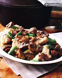 pan-roasted monkfish w/ mushrooms and scallions (made tonight w/fresh monkfish from cape ann fresh catch CSA - yum!)