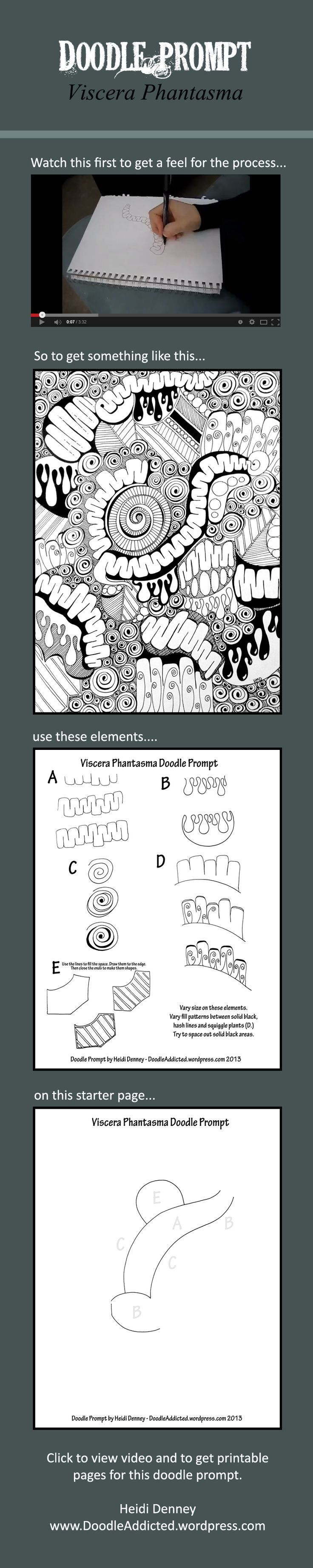 Click to view video and full tutorial. Doodle prompt by Heidi Denney. Sharpie art Tangle