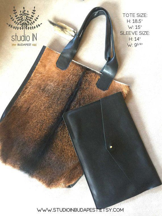 Leder-Tragetasche Fell Tasche schwarz und von StudioInBudapest