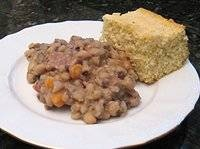 Black Eyed Peas. I used turkey bacon for the meat and it turned out pretty amazing! I also added a bunch of carrots instead of just one.