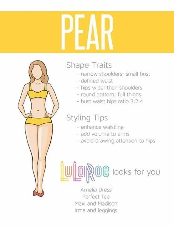 Do you have a pear shape? Let me help you find pieces that will flatter your body. The LuLaRoe Amelia dress has pockets and pleats and looks great on pear shaped women. The Perfect Tee and and Irma Tunic top are both great options to wear with LuLaRoe Leggings. Everyone loves a good Maxi skirt, worn as a dress or a skirt. #clothesthatflatteryourbodyshape