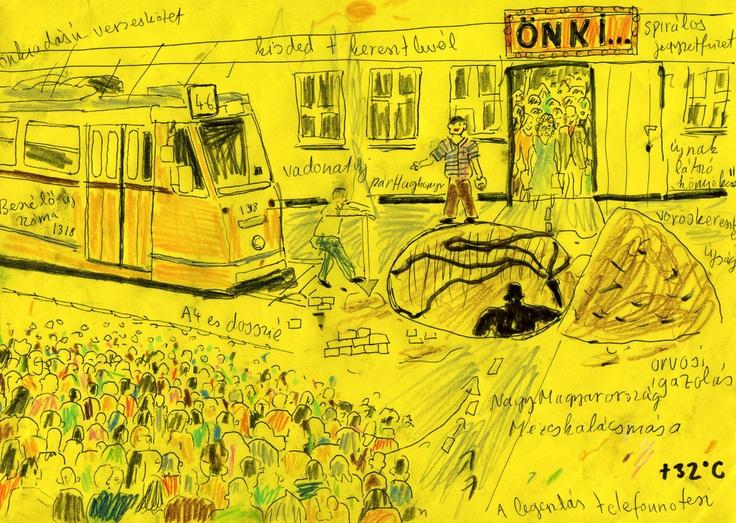 XVI. APOKALIPSZIS A LENIN KRT. ÉS A MAJAKOVSZKIJ U. SARKÁN(1984 szeptember 11) Az idegösszeomlás napjának és lefolyásának tárgyszerű leírása. Ez után az esemény után kerül a hidegkúti diliházba. (FOLYT. KÖV.) A tarka sokaság hullámzik, zajong, mint Az ember tragédiája 'Londoni szín'-ében, ide-oda lökdösnek a szűk járdaszigeten, én is hullámzok velük, de közben nem tudom levenni a szemem az önki bejáratáról, ahol hatalmas tumultus van, fölszedték a járdát, gázszerelés vagy csatornacsere, a…